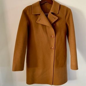 BLOOMINGDALE'S Camel Wool and Cashmere Blend Single-Breasted Coat